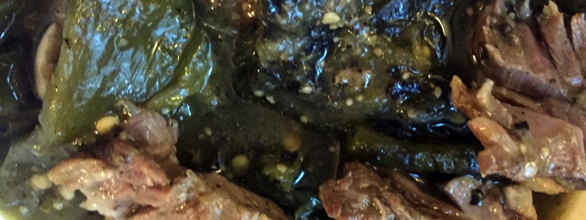Lamb shoulder and poblano tomatillo stew